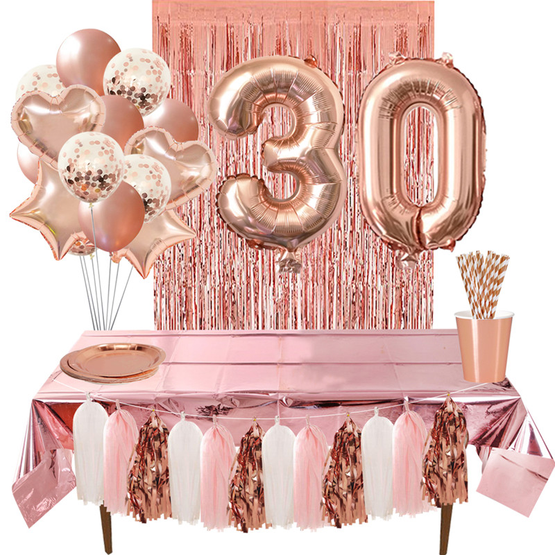 Rose gold <font><b>18</b></font> 27 30 35 40 50 60 Foil Balloons Tinsel Fringe Curtains Table Cloth Drink Straws 30th 40th <font><b>Birthday</b></font> Party <font><b>Decoration</b></font> image