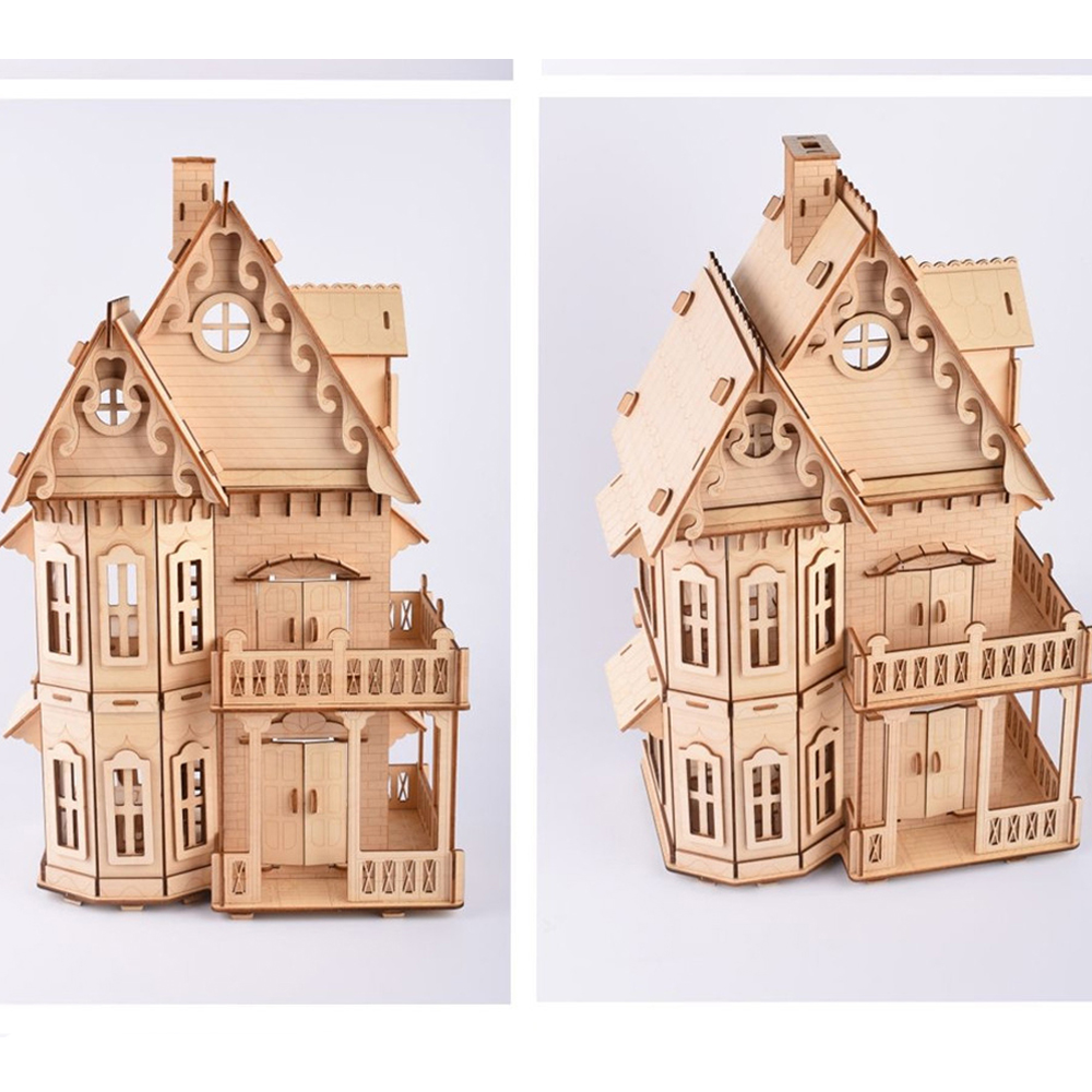 Wooden 3D DIY Assembly Dollhouse With Miniature Furniture Sets Educational Puzzle Toys For Children Kids Christmas Gifts
