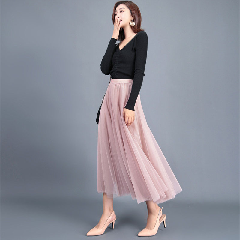 Women Summer A-line Skirt Ladies Pleated Chiffon Ankle-Length Empire Solid Preppy Style Fashion Casual Girls Skirts