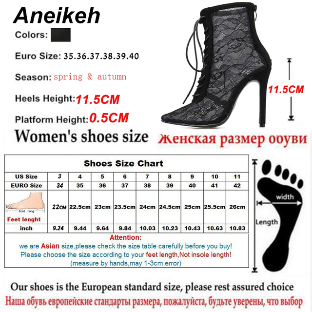 Aneikeh Black Mesh Women's Boots Fashion Pointed Toe Lace-up High Heels Women Transparent Ankle Boots Female Sandals Pumps Dress 5