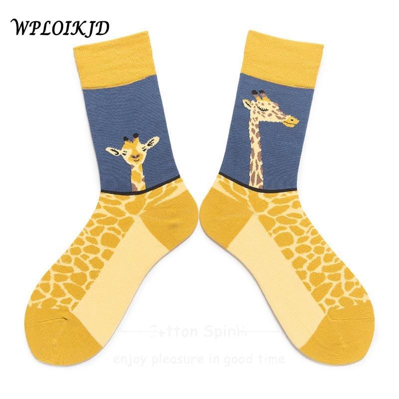 [WPLOIKJD]College Style Cartoon Cotton Giraffe Animal Print Jacquard Couples   Socks   Personality Trend Cute Funny Unisex   Socks