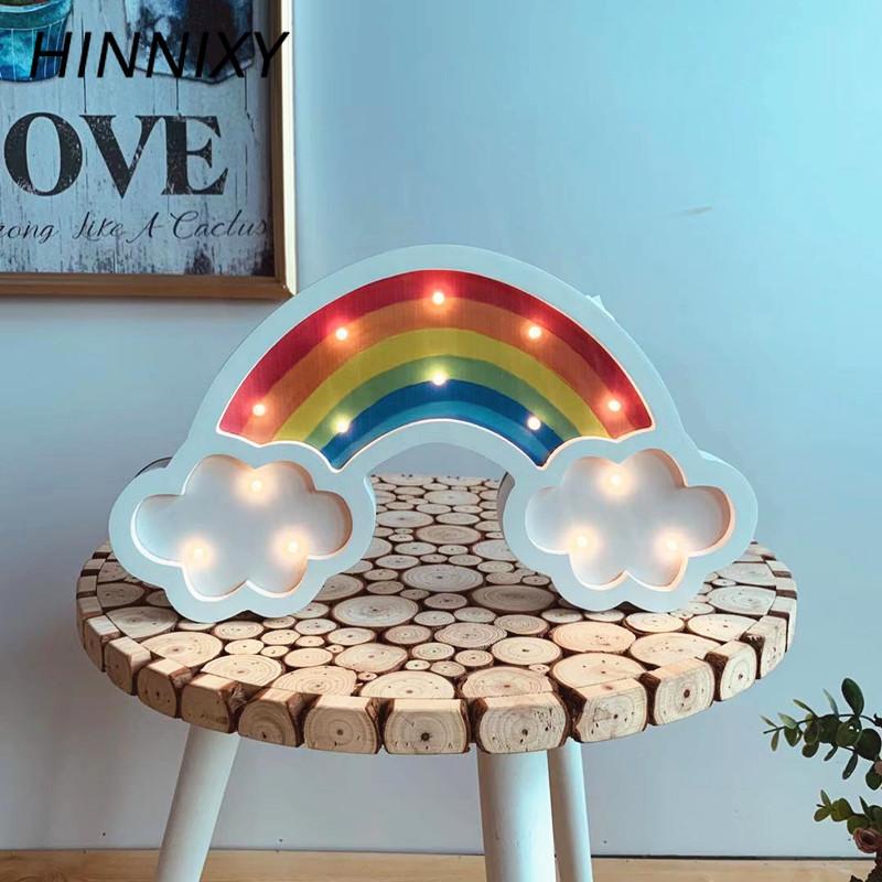 Hinnixy Colorful Rainbow Hanging Wall Lamp Wood Children Night Light Home Decor Light Fixture Desk Ornament Luminaria Baby Gift