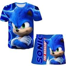2021 Summer Kids Clothes Sonic 3d Print Suits Toddler Girls Sets Top+shorts 2pcs Sets Sports Suit Casual Baby Sets Boys Clothes