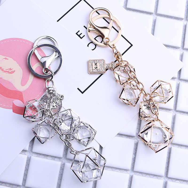 Personalidade criativa geométrica chaveiro moda chaveiro saco charme titular da chave do carro feminino casal anel chave 002sl