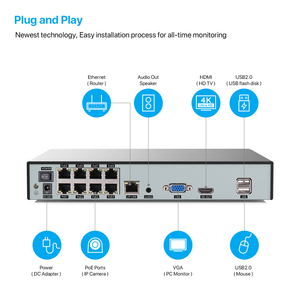 Image 5 - H.View 4K Ultra HD Video Surveillance kit 8MP poe ip camera Set 8CH Dome Security Camera CCTV System H.265 Audio Record Nvr