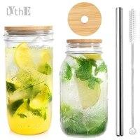Boba tazza di vetro bicchieri di vetro con coperchi di bambù cannucce in acciaio inossidabile bicchiere da bere retrò tazza di frullato riutilizzabile per tè a bolle