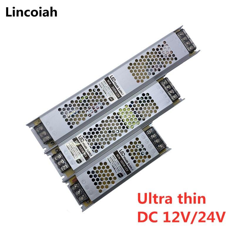 Ultra Dünne LED Netzteil DC 12V 24V Beleuchtung Transformatoren 60W 100W 150W 200W 300W 400W 500W AC190-240V Fahrer Für LED Streifen