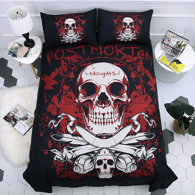 Sugar Skull 3D Printing Bedding Set Duvet Covers Set Pillowcases Dark Skull Comforter Bedding Sets Bedclothes Bed Linen Bed Set