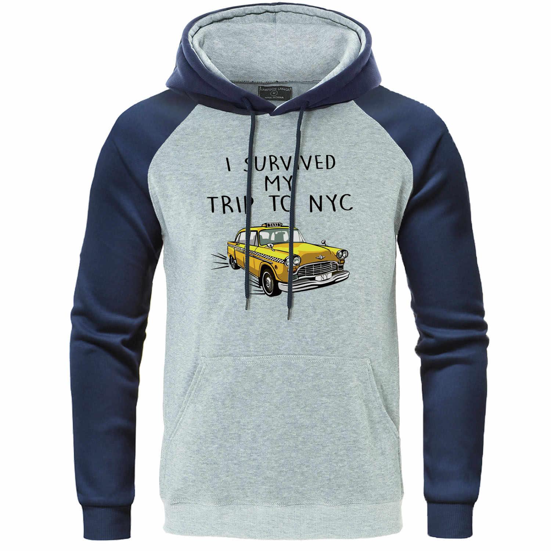 I Survived My TRIP TO NYC พิมพ์ Raglan Hoodie เสื้อกันหนาวผู้ชายแฟชั่นฤดูใบไม้ร่วงเสื้อ Hip Hop ผู้ชาย Tracksuit ขนแกะ Hoody