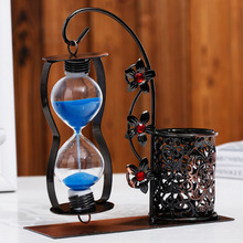 Home Decor Sand Clock Hourglass Timer Clock Sandglass with Pen Storage Holder Crafts Birthday Gifts reloj de arena Sand Timer hot selling vintage hourglass ampulheta crafts sand clock hourglass timer home decoration accessories for birthday gift lfb110