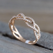 Exquisite Sweet Women's Rose Gold Crystal Zircon Ring  European Engagement Ring Valentine's Day Gift Banquet Jewelry exquisite women s rose gold crystal zircon ring lady engagement wedding ring anniversary birthday banquet gift jewelry