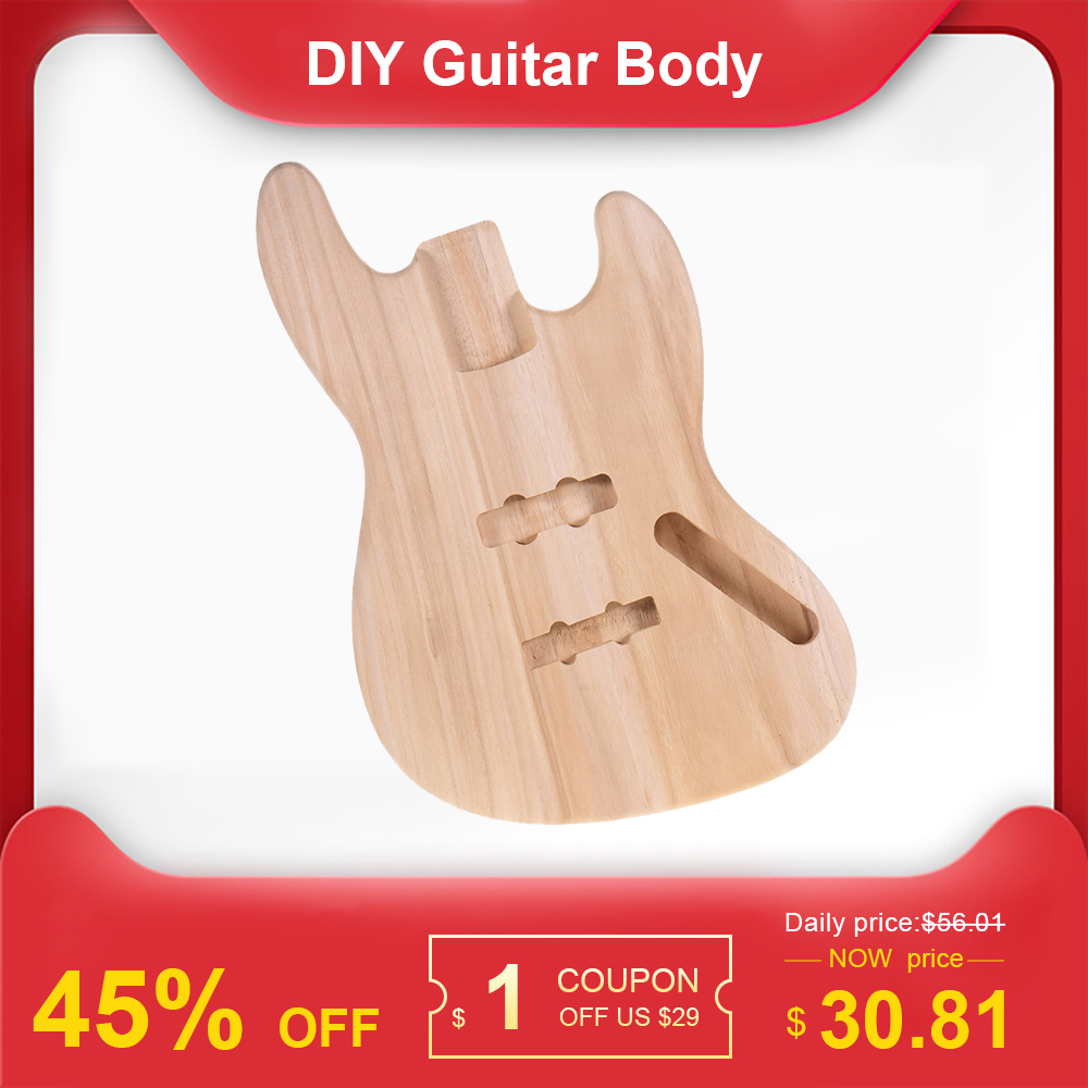 Muslady JB-T02 Unfinished Guitar Body DIY Parts Platane Wood Blank Guitar Barrel for JB Style Bass Guitars Guitar Accessories