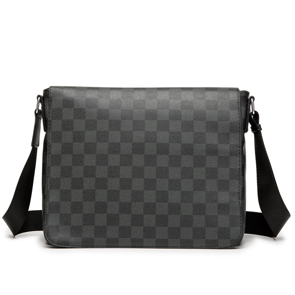 Man Messenger Bag Leather Shoulder Crossbody Bags Men A4 File Ipad Tablet PC Business Pack Classic Plaid Design