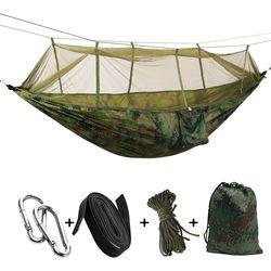 Przenośna tkanina na spadochron o wysokiej wytrzymałości hamak kempingowy wiszące łóżko z moskitierą śpiąca hamak Camo na