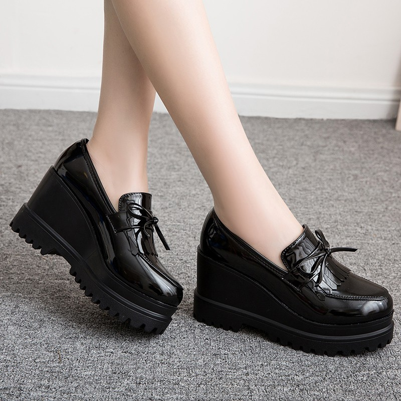 Spring Flat Platform Shoes Women's Oxfords Shoes Shallow Casual Solid Height Increasing Brogue Shoe Women Creepers