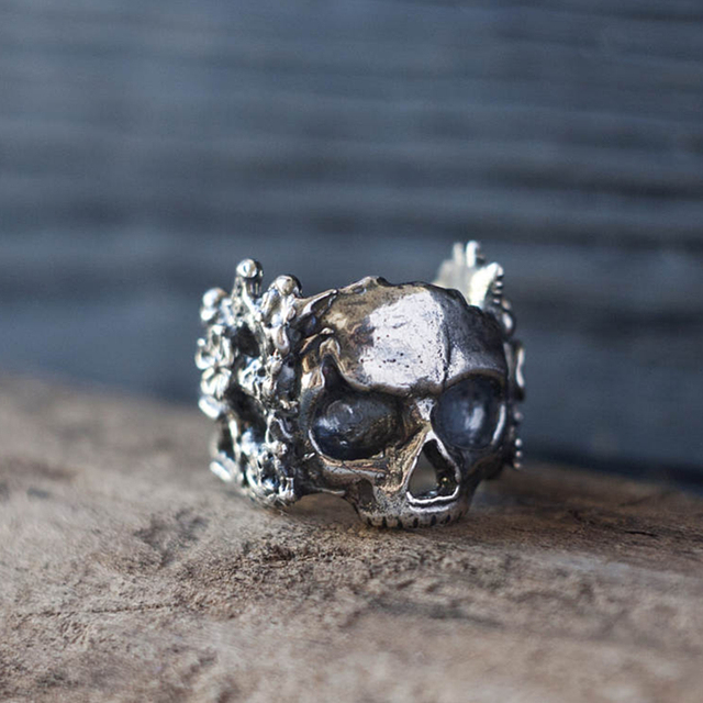 STAINLESS STEEL MEXICAN FLOWER SKULL RINGS