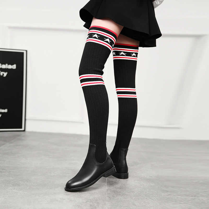 2019 Mulheres Meias Botas Longo Fino Sobre O Joelho Botas De Cano Alto Outono Inverno Elastic Sapatinho Sapatos