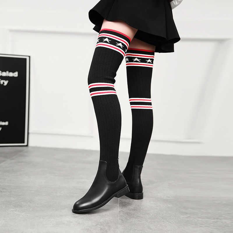 2019 femmes chaussettes bottes longues minces sur le genou bottes hautes automne hiver chaussons élastiques chaussures