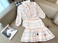 2019 ladies fashion suit cotton rainbow wave striped stitching shirt + high waist lace skirt 1213