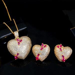 Image 2 - Pera en kaliteli mikro açacağı CZ 585 altın romantik aşk kalp şekli küpe kolye takı setleri bayanlar için yıldönümü hediyesi J302