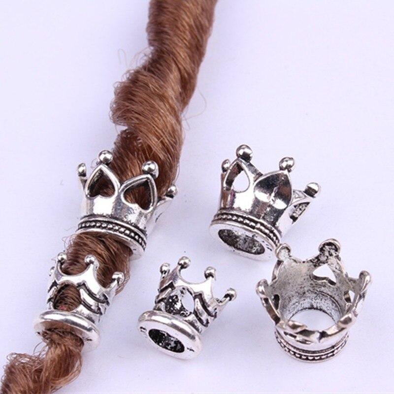5/10Pcs/Lot Silver Metal Beads Set Dreadlock Beads Dread Beads Big Small Crown Braid Cuffs Clip Beads Unadjustable Hair Rings