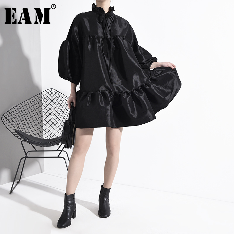 [EAM] Women Black Ruffles Split Big Size Dress New Stand Collar Long Sleeve Loose Fit Fashion Tide Spring Autumn 2020 JK85201