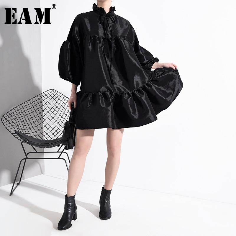 [EAM] Women Black Ruffles Split Big Size Dress New Stand Collar Long Sleeve Loose Fit Fashion Tide Spring Autumn 2020 JK85201
