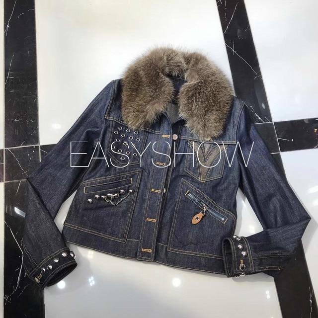 L160  Mink collar denim jacket rivet heavy industry winter highest version