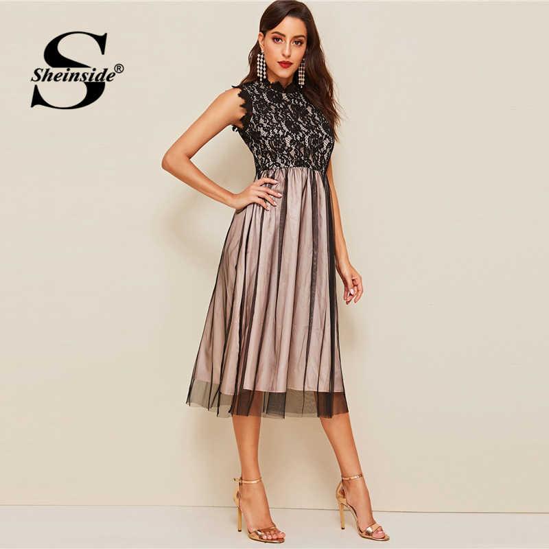 Sheinside элегантный воротник-стойка гипюровое кружевное вечернее платье без рукавов женское 2019 летнее контрастное многослойное Сетчатое платье трапециевидной формы