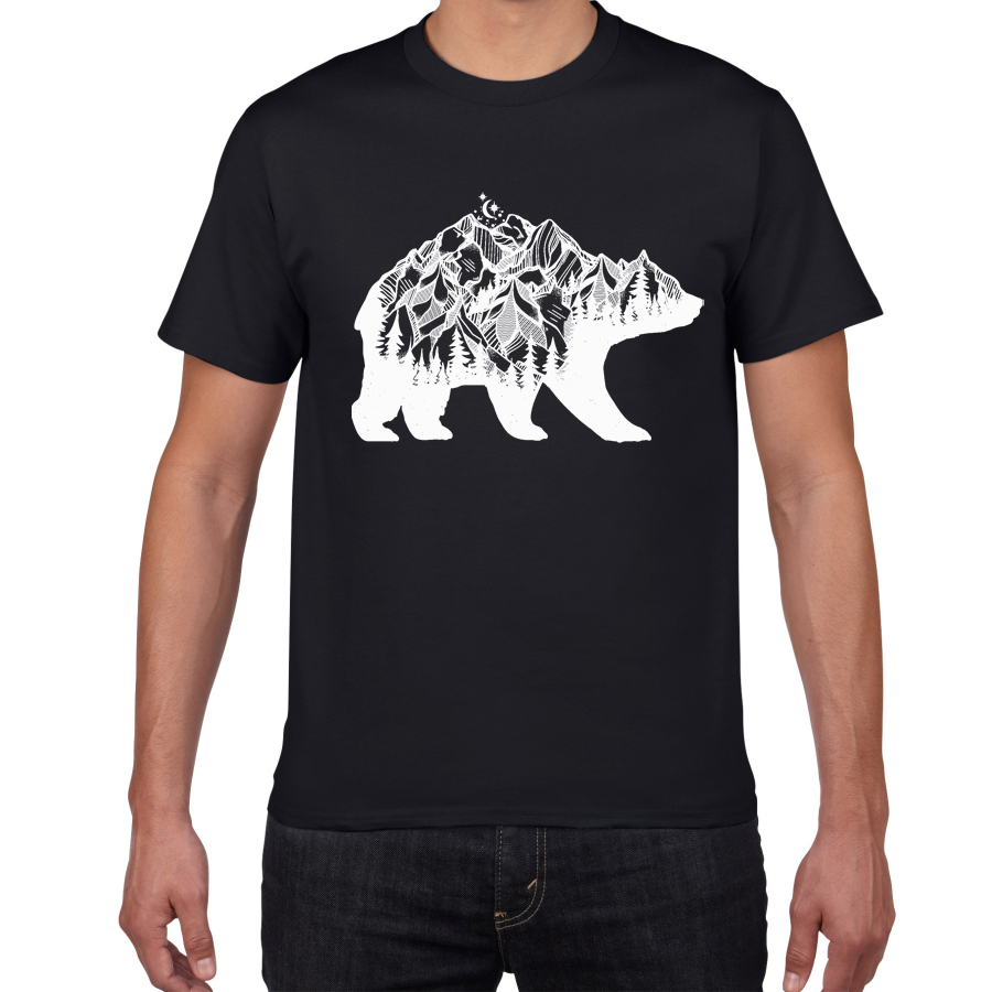 Bear Mountains Cool Hip Hop T Shirt Men Breathable Cotton Summer Hipster Funny Streetwear Tee Shirt Homme Men Clothes Harajuku