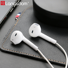 Original Langsdom E6C Patent Half In-ear Stereo Bass Earphone Headset with Microphone 3.5mm Earphones for Xiaomi iPhone Samsung original langsdom m400 in ear earphones special metal high quality heavy bass sound with microphone for all phone xiaomi