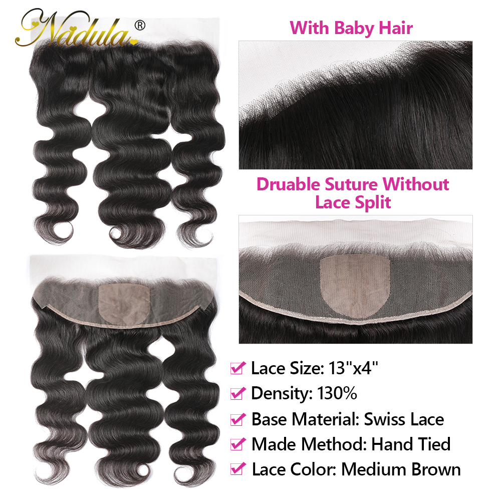 Nadula Hair Body Wave Lace Frontal 13x4 Medium Brown Lace Color Closures Body Wave Hair 4x4 Silk Base Frontal 2
