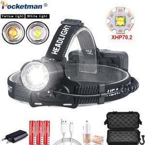 Image 1 - Phare puissant XHP70.2 LED phare USB Rechargeable lampe frontale Zoom étanche phare de blanc jaune éclairage par 18650