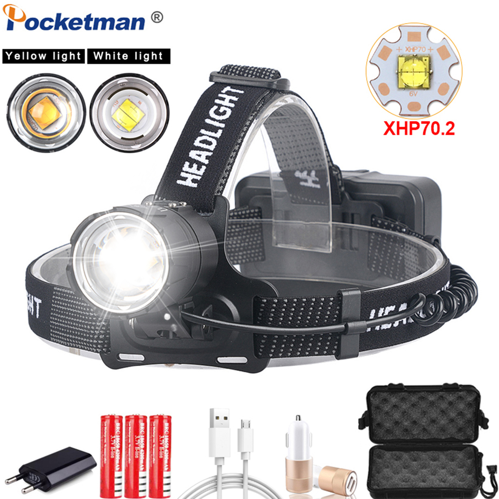 Powerful Headlight XHP70.2 LED Headlamp USB Rechargeable Head Lamp Zoom Waterproof Head Light Of White Yellow Lighting By 18650