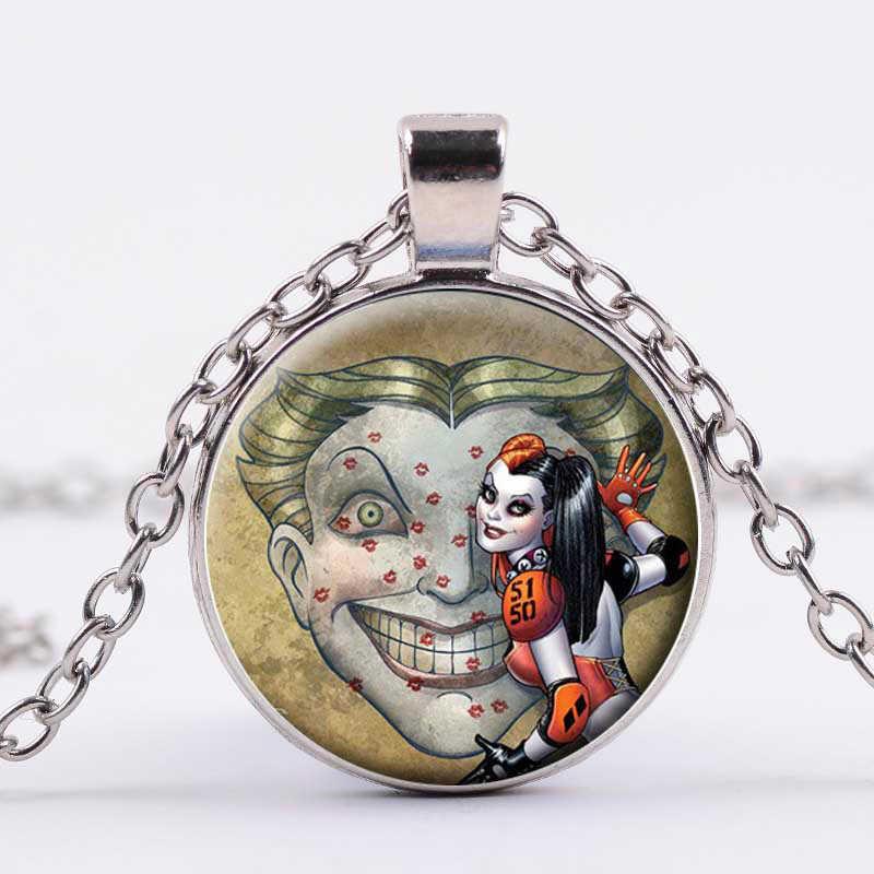 SIAN Movie samobójstwo Squad naszyjnik śmieszne Clown Harley Quinn rysunek zdjęcie szkło okrągły wisiorek srebrny łańcuch Trendy biżuteria Cosplay