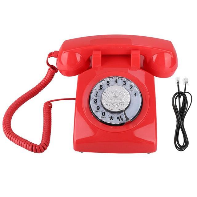ヴィンテージ電話レトロ固定電話ロータリーダイヤル電話デスク電話コード電話機のためホームオフィス品質