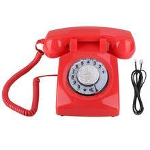 Vintage teléfono Retro línea fija teléfono giratorio Dial teléfono escritorio Teléfono con cable línea fija para el hogar Oficina de alta calidad
