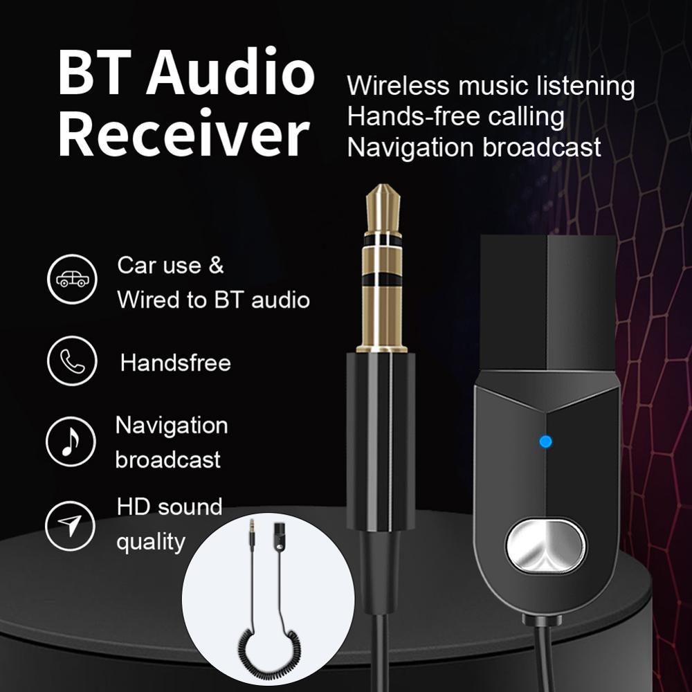 USB Aux Bluetooth Car Kit Handsfree Auto Adapter For Car Headphone 3.5mm Jack Bluetooth 5.0 Receiver Carkit Audio Transmitter