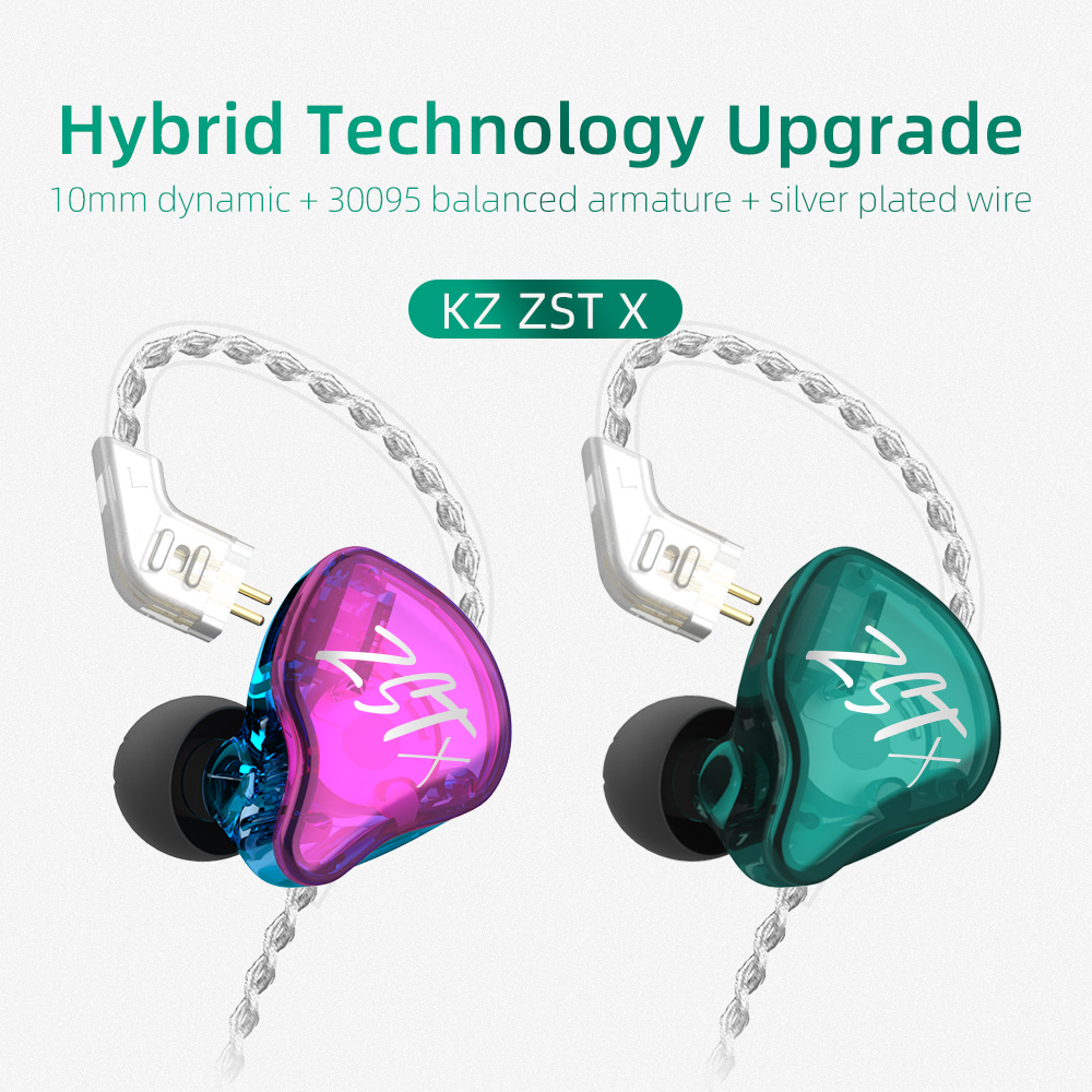 AK Original Colorful KZ ZSTX 1BA 1DD  In Ear Earphone Hybrid Headset HIFI Bass Earbuds With Mic Replaced Cable 2pin 0 75mm ZST