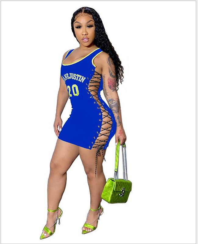 women new sexy bodycon dress summer sleeveless lace up letter print sexy short mini dress female casual dress DHR8009 9