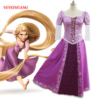 VEVEFHUANG halloween adult rapunzel costume tangled fancy dress+bustle women cosplay tangled rapunzel princess costume for women