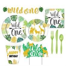 Wild One decorazione per feste a tema stoviglie usa e getta giungla decorazione per feste di compleanno tazza di carta tazza Baby Shower forniture