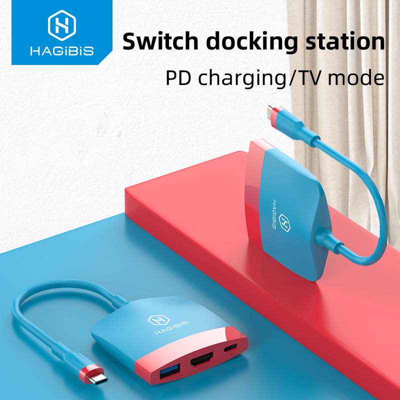 Haigbis Switch Dock TV per Dock per Nintendo Switch Docking Station portatile da USB C a 4K HDMI USB 3.0 PD ricarica per NS Macbook Pro
