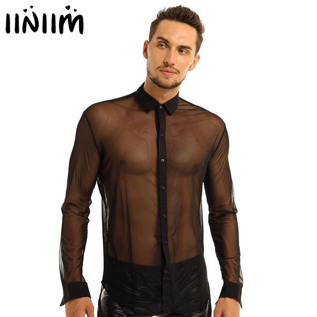iiniim Mens Fashion See Through Mesh Long Sleeve Clubwear Turn down Collar Top Shirt for Club Evening Party WetLook Shirts