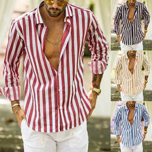 Fashion Men Luxury Stylish Slim Fit Shirt Cotton Linen Long Sleeve Striped Button Shirt Stand Collar Casual Blouse Comfy Top цена 2017