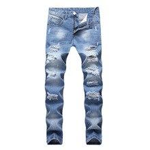 Men's Light Blue Straight Slim Fit Pierced Jeans Casual Denim Jeans Vintage Denim Pants Motorcycle Wrinkle Multi-pocket Trousers
