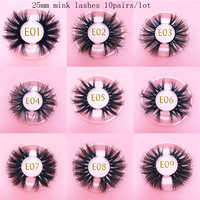 wholesale MIKIWI luxury 25mm real mink eyelashes 16 styles natural 100% handmade reusable makeup tools 3D long and fluffy lashes