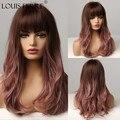 Парик LOUIS FERRE с эффектом омбре темно-коричневого, розового, фиолетового цветов, синтетические парики средней длины с челкой для женщин, натур...