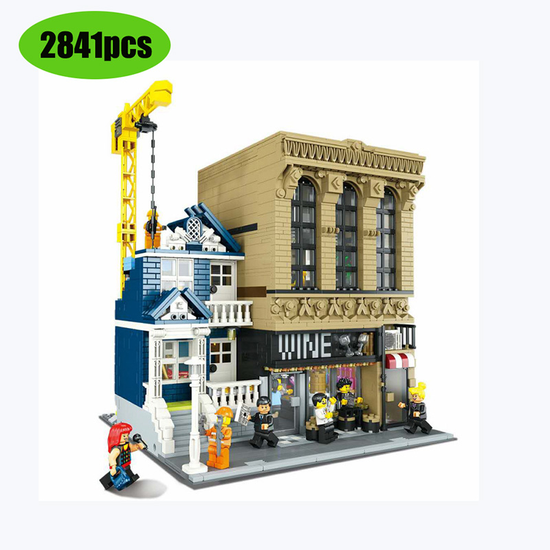 New 180161 Bar And Financial Company Classic Building Street View Series 15035 Model Lepining Building Blocks Bricks Toy Gift