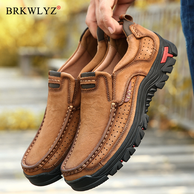 2020 Hot Men Comfortable Non-Slip Hiking Shoes First Layer Cowhide Leather Sneakers Men Breathable Hiking Boots Big Size 38-48